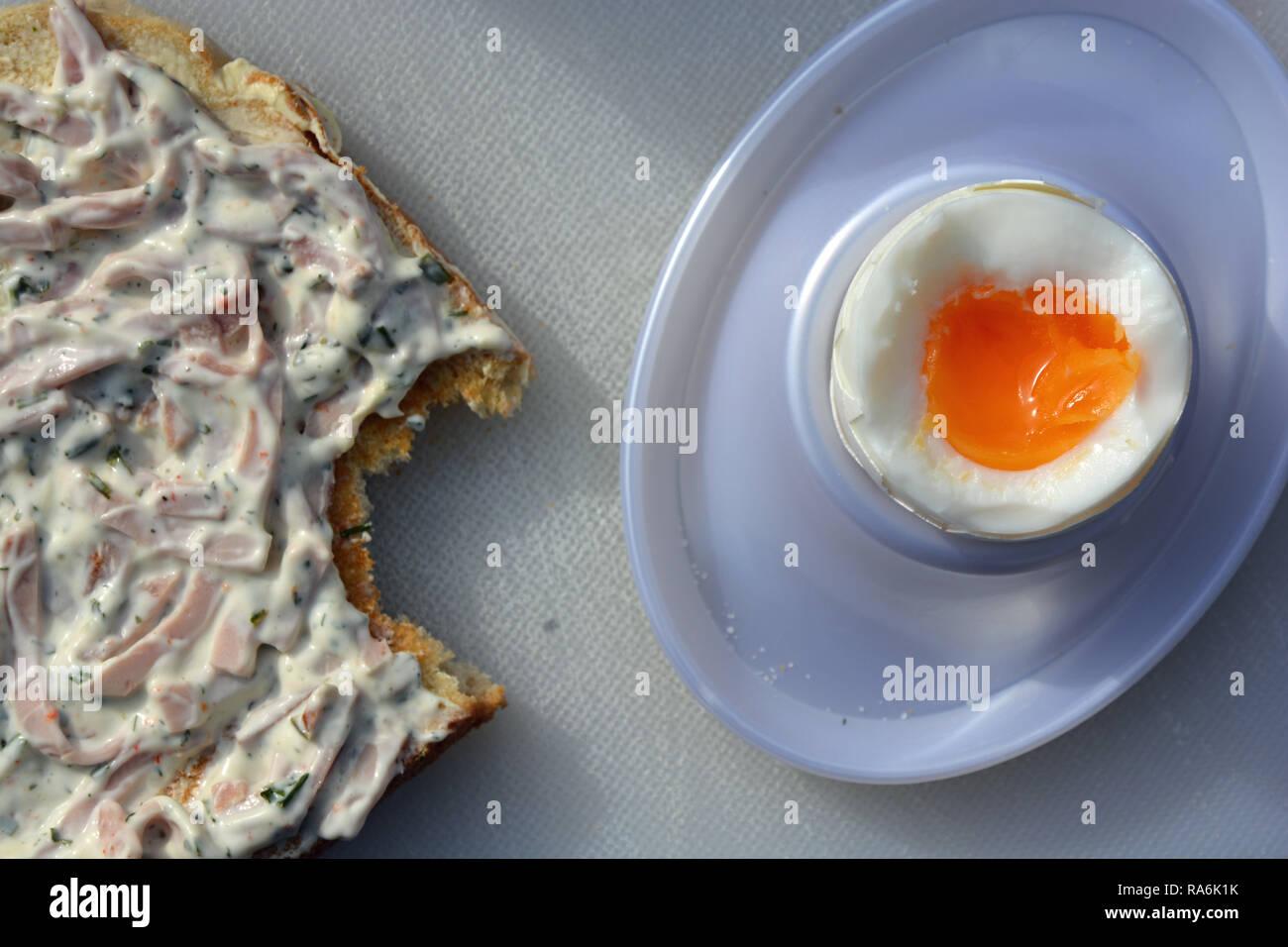 Frühstücksei, Tost, Eier, Ei Stock Photo