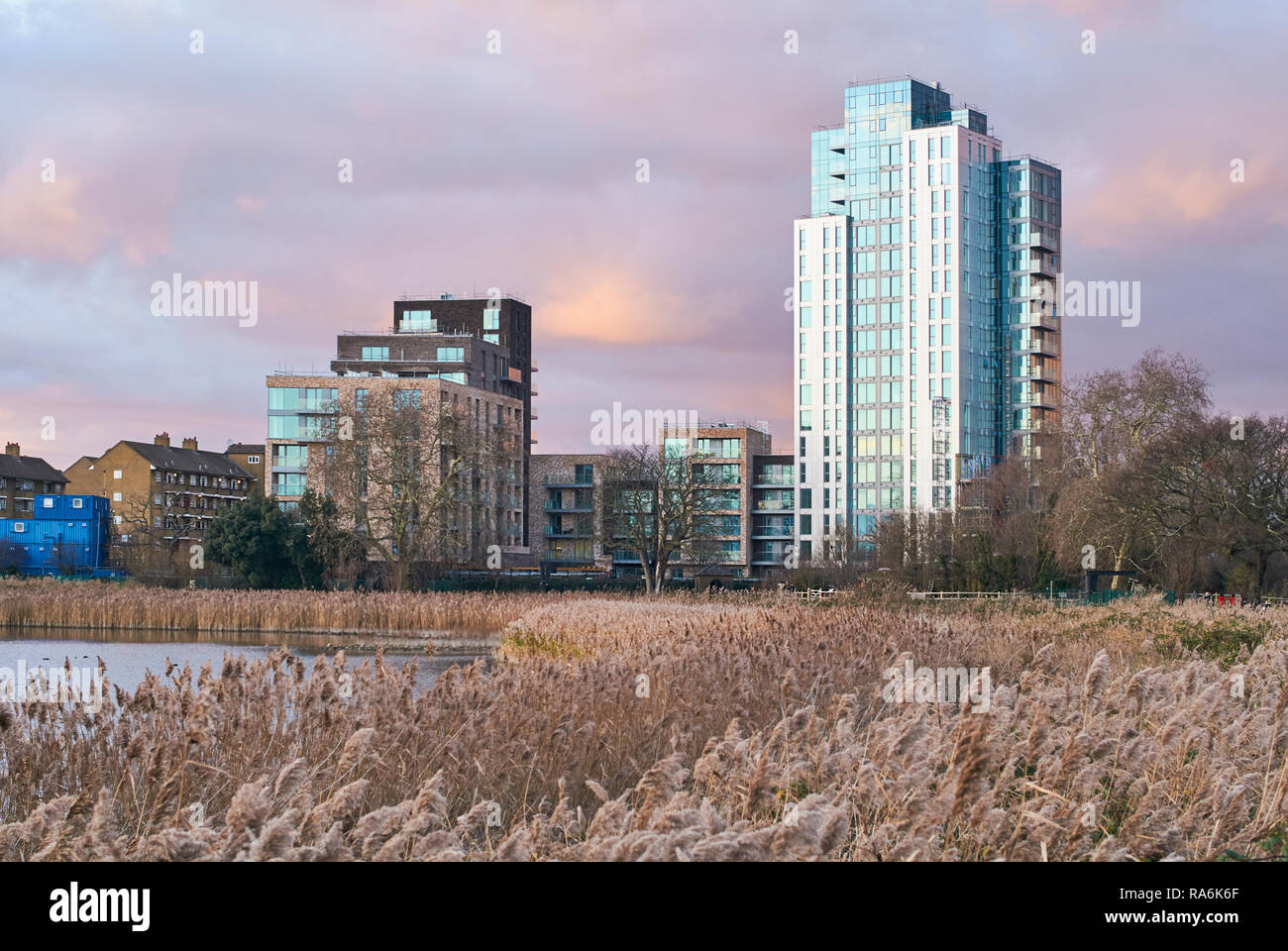 New apartment buildings at Woodberry Down, North London, viewed from Woodberry Wetlands at dusk, in winter - Stock Image