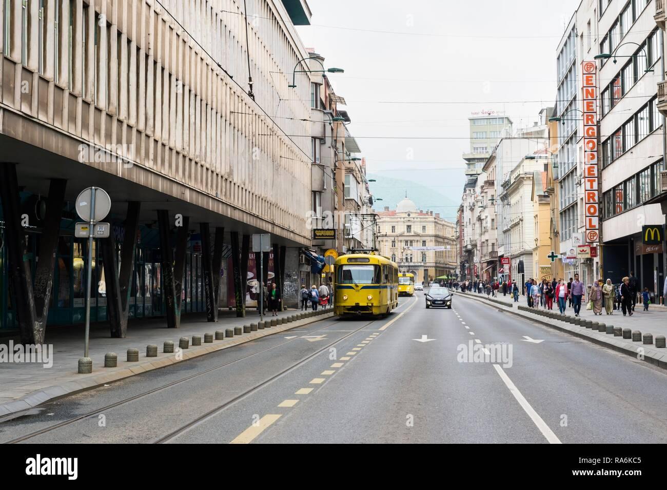 Street scene, Sarajevo, Bosnia and Herzegovina - Stock Image