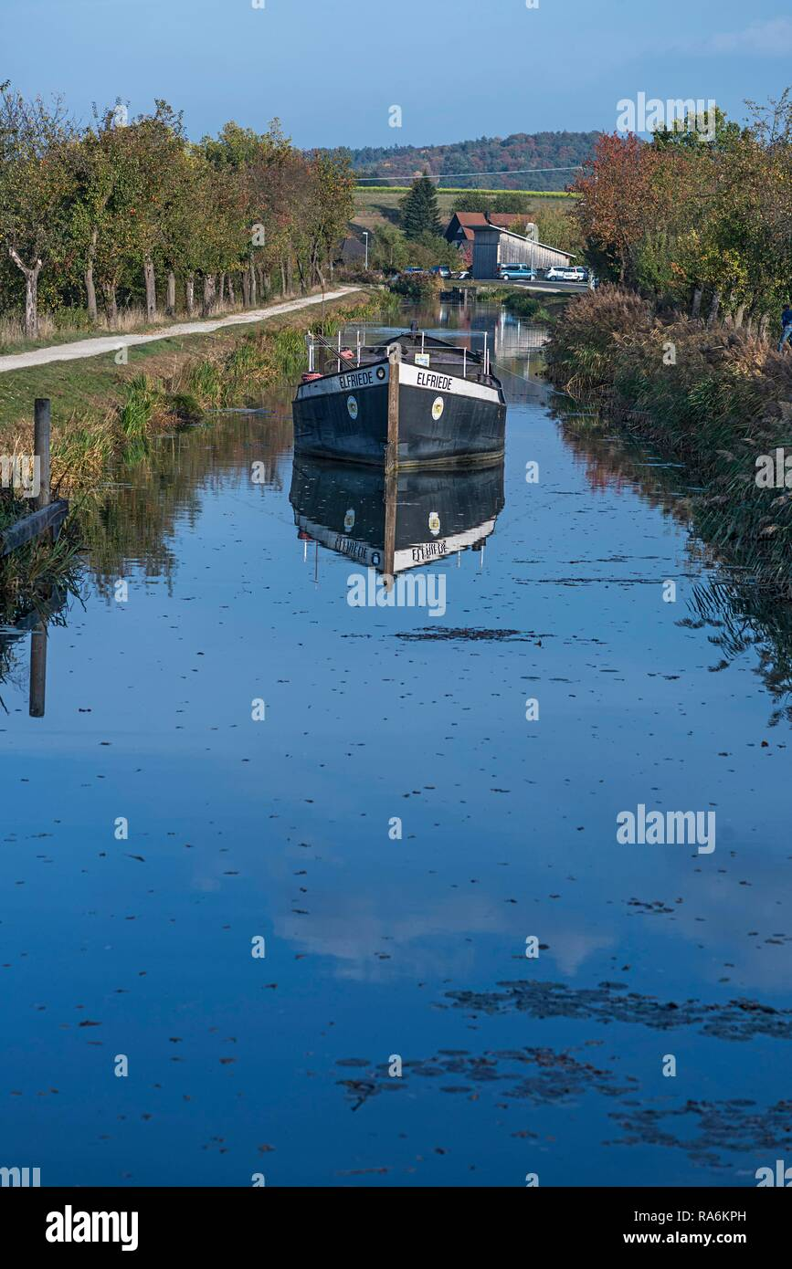 Towboat on the Old Canal, Ludwig-Danube-Main Canal, 19th and 20th century, Schwarzenbach, Middle Franconia, Bavaria, Germany - Stock Image