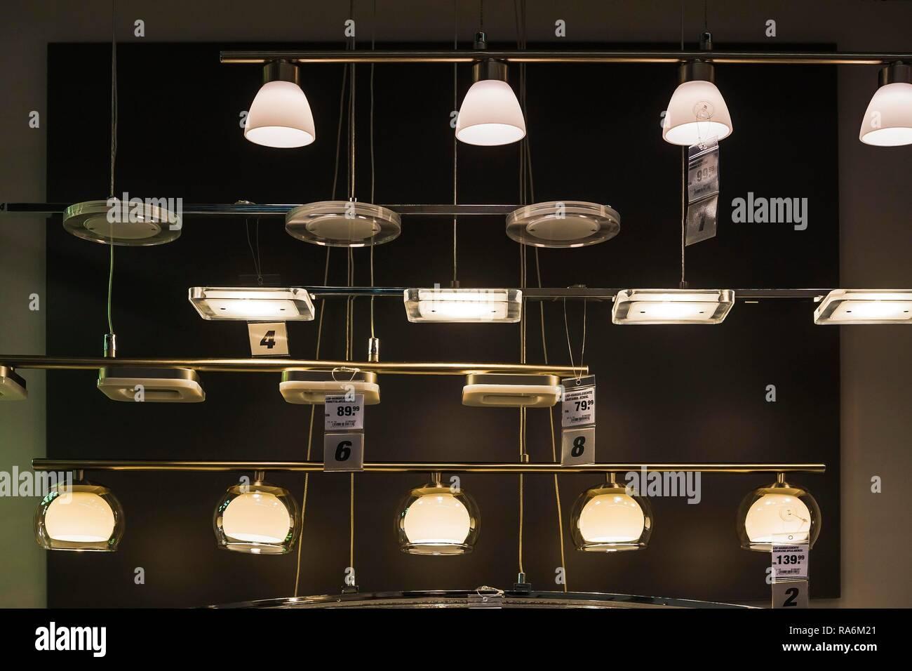 LED Lights, hardware store, Germany - Stock Image