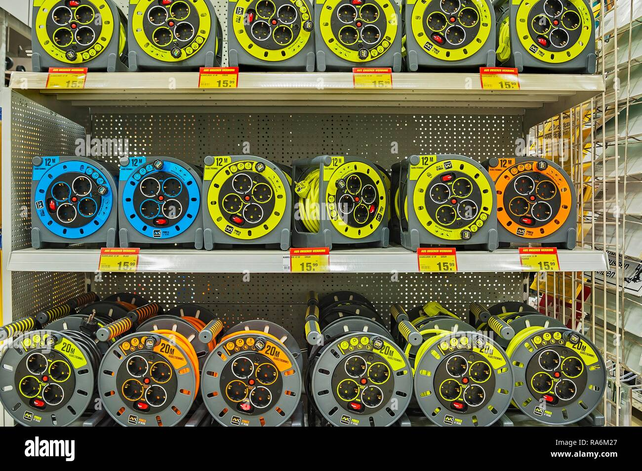 Cable drums, hardware store, Germany - Stock Image