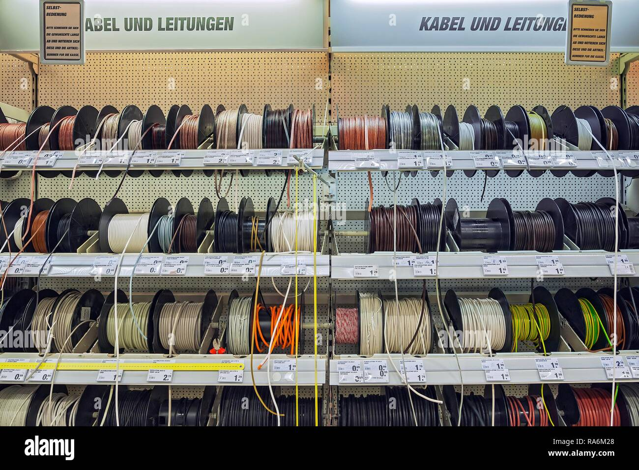 Cables and wires, hardware store, Germany - Stock Image
