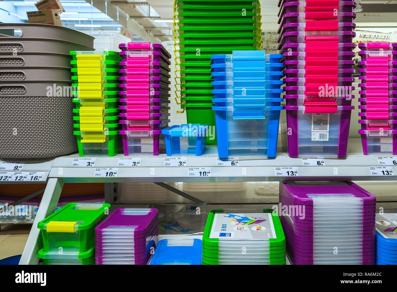 Plastic container, hardware store, Germany - Stock Image