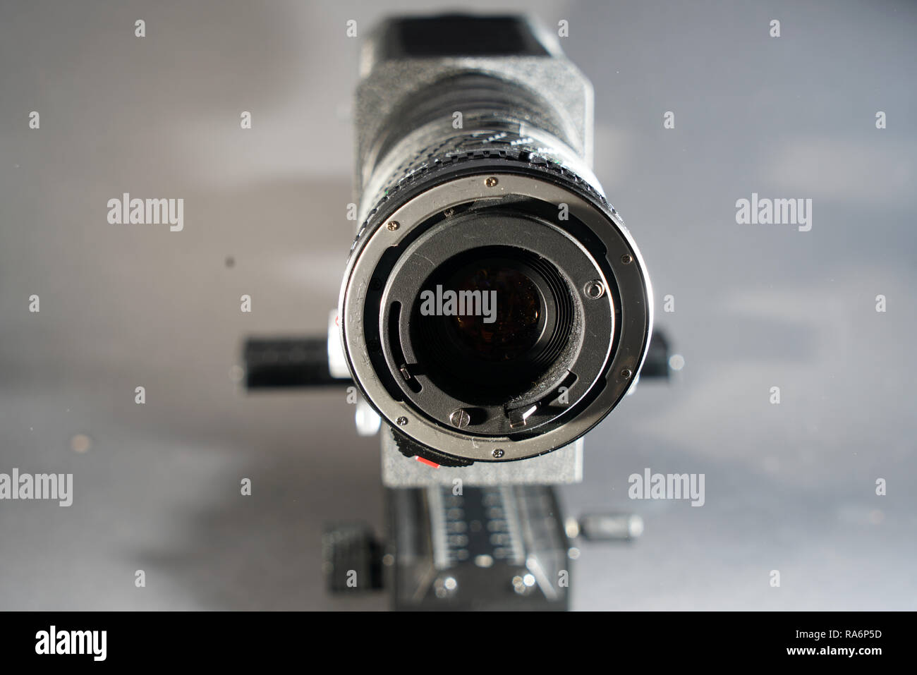 In macro photography and photomicrography, a bellows device is very helpful and almost indispensable - Stock Image