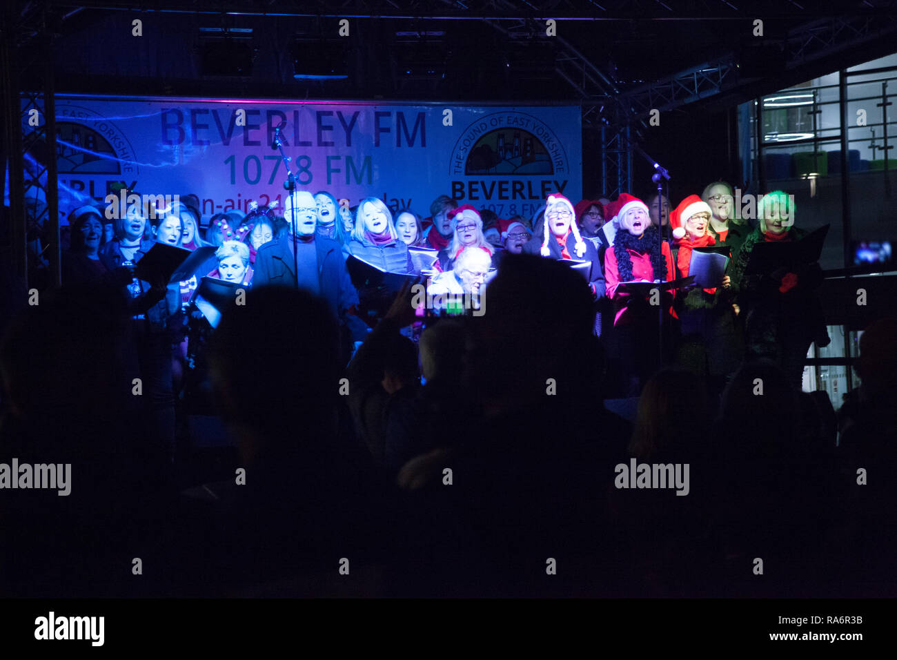 Remarkable Rock Choir performing at Beverley Christmas Light switch on Flemingate shopping Centre Friday 23rd November 2018 - Stock Image