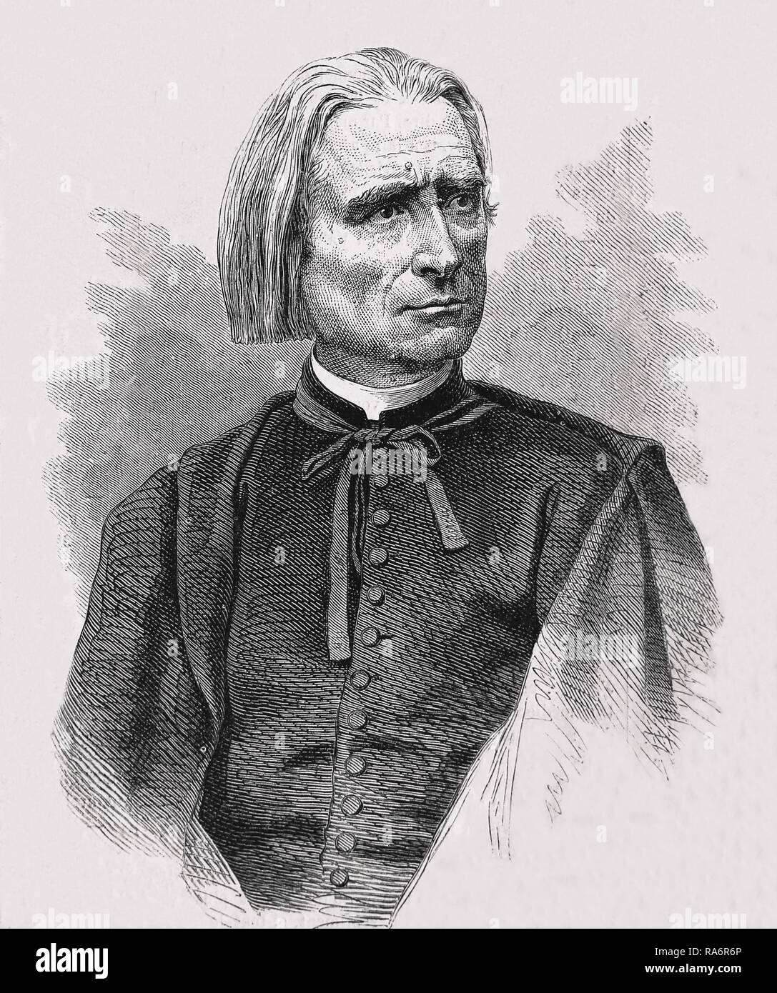 Franz Liszt (1811-1886) Musician, piano man. Prolific and famous Hungarian composer and author. Engraving 19th. century. Stock Photo