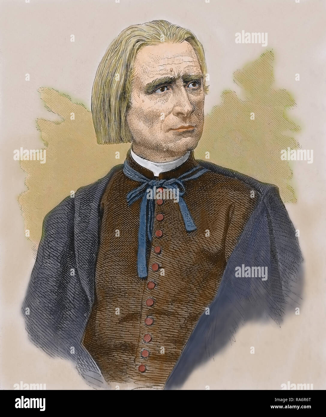 Franz Liszt (1811-1886) Musician, piano man. Prolific Hungarian composer and author. Engraving 19th. century. Later colouration. Stock Photo