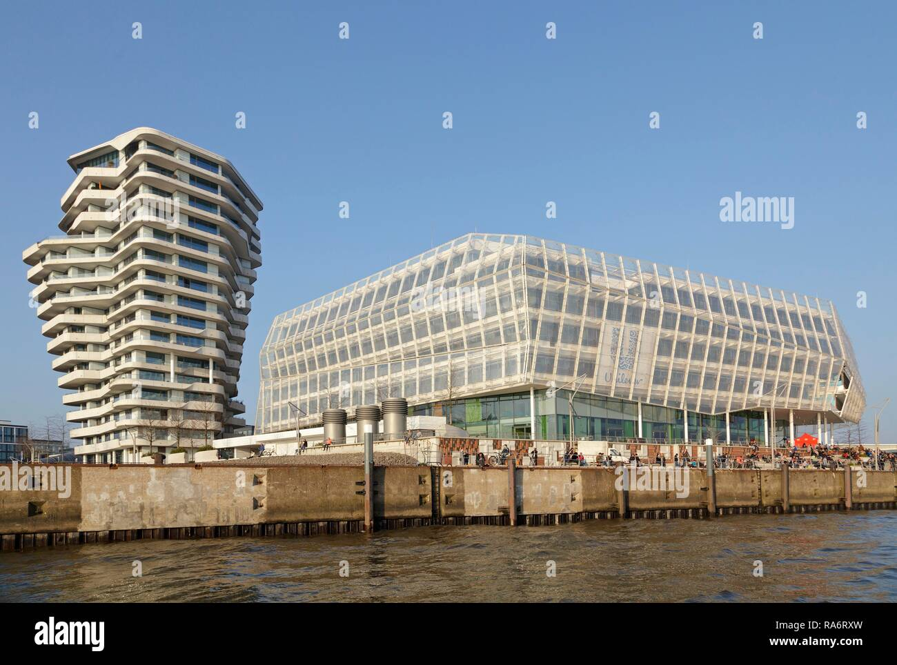 Marco Polo Tower and the Unilever Haus, HafenCity, Hamburg, Germany - Stock Image