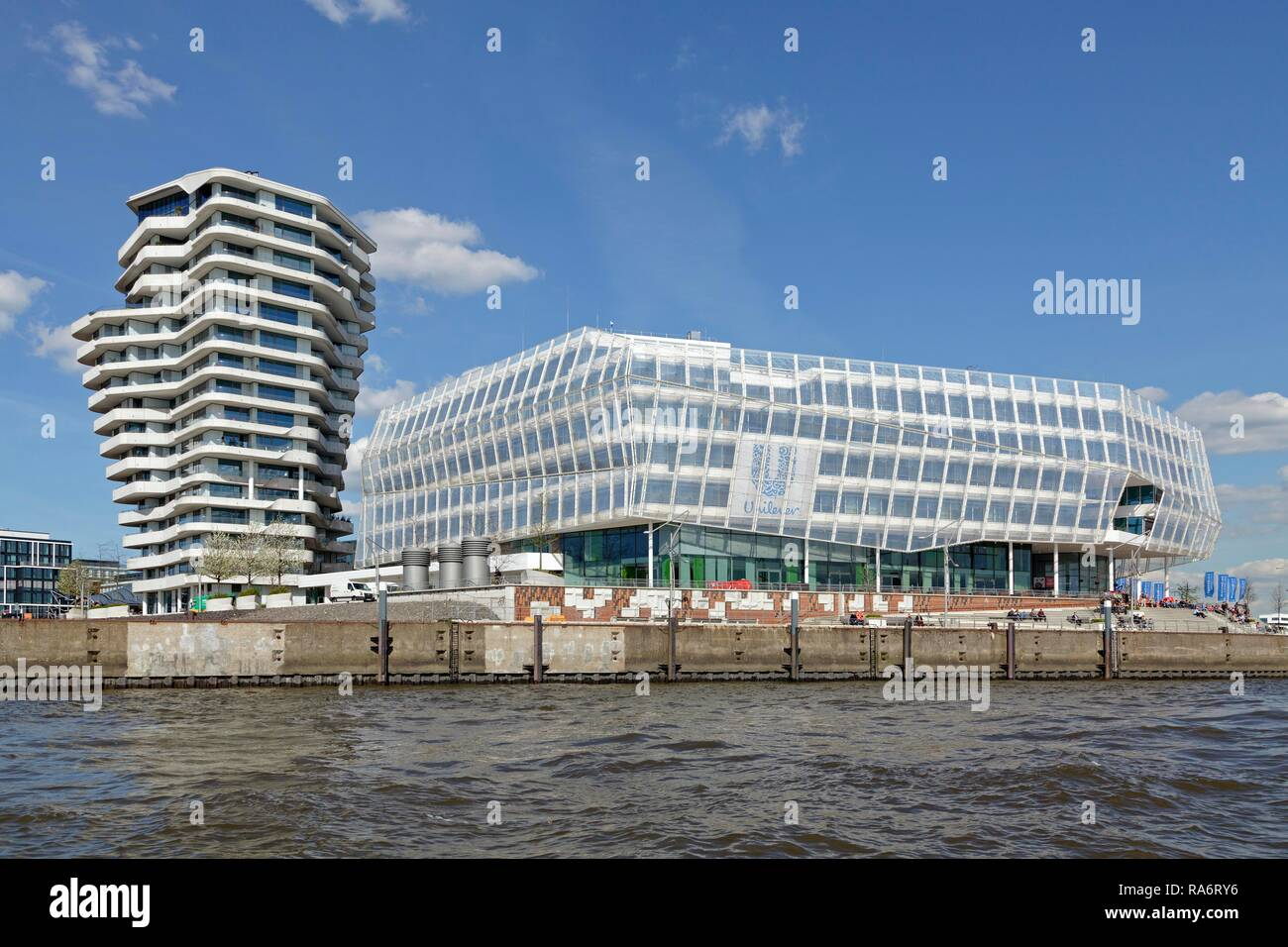 Marco Polo Tower and Unilever Haus, HafenCity, Hamburg, Germany - Stock Image
