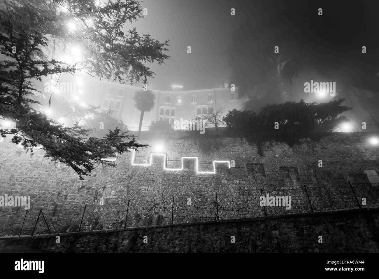 Black and white effect of branches of the largest Christmas tree in Europe immersed in the mist with ancient monastery transformed into a castle, Ciso - Stock Image