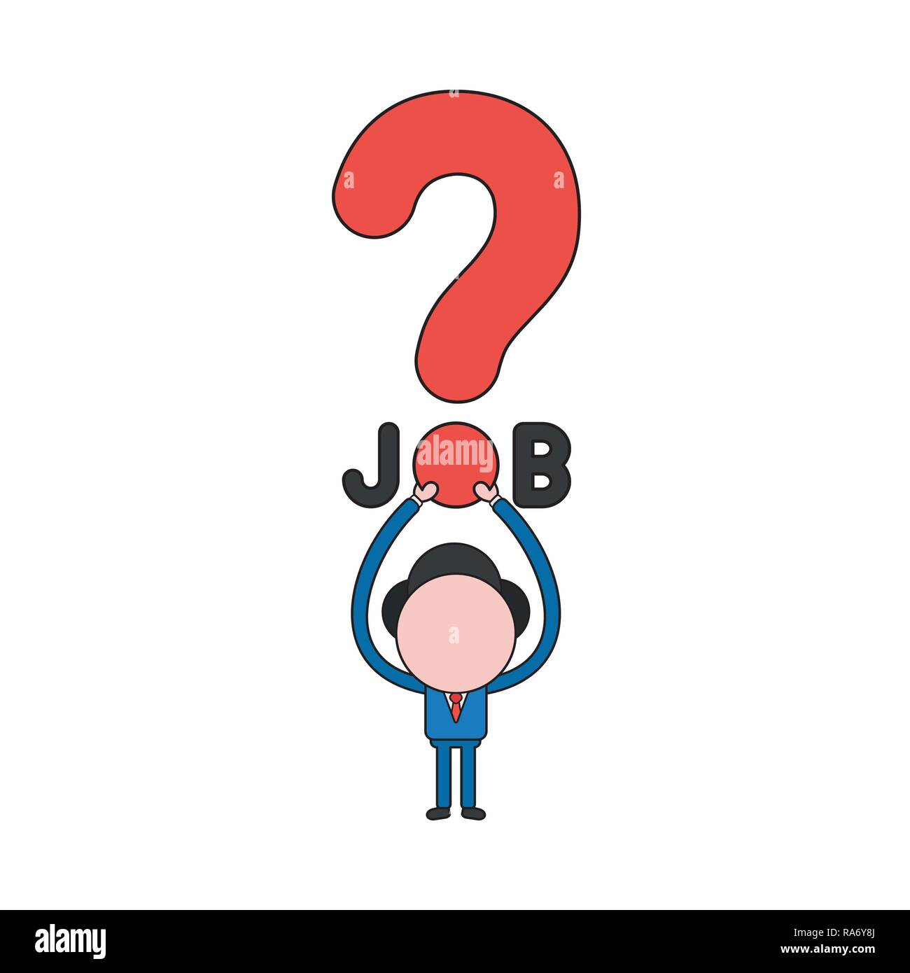 Vector illustration concept of businessman character holding up job word with question mark. Color and black outlines. - Stock Vector