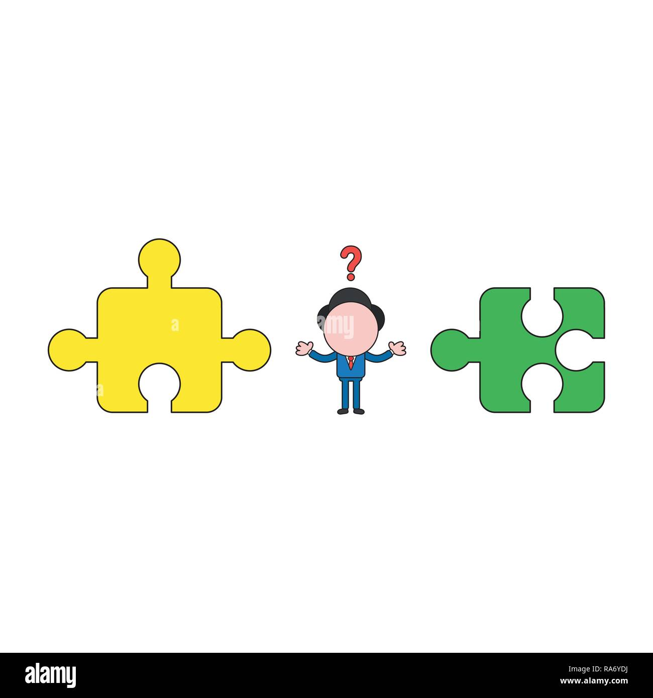 Vector illustration concept of confused businessman character between incompatible puzzle pieces. Color and black outlines. Stock Vector