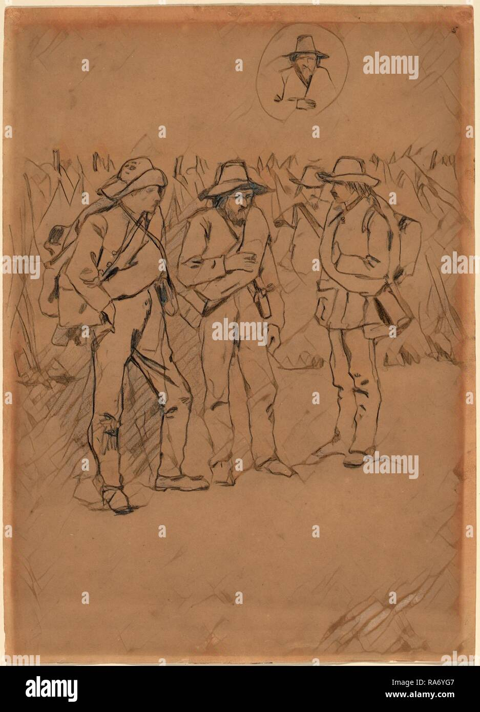 Winslow Homer, Prisoners of War, American, 1836 - 1910, 1862-1865, graphite on wove paper. Reimagined - Stock Image