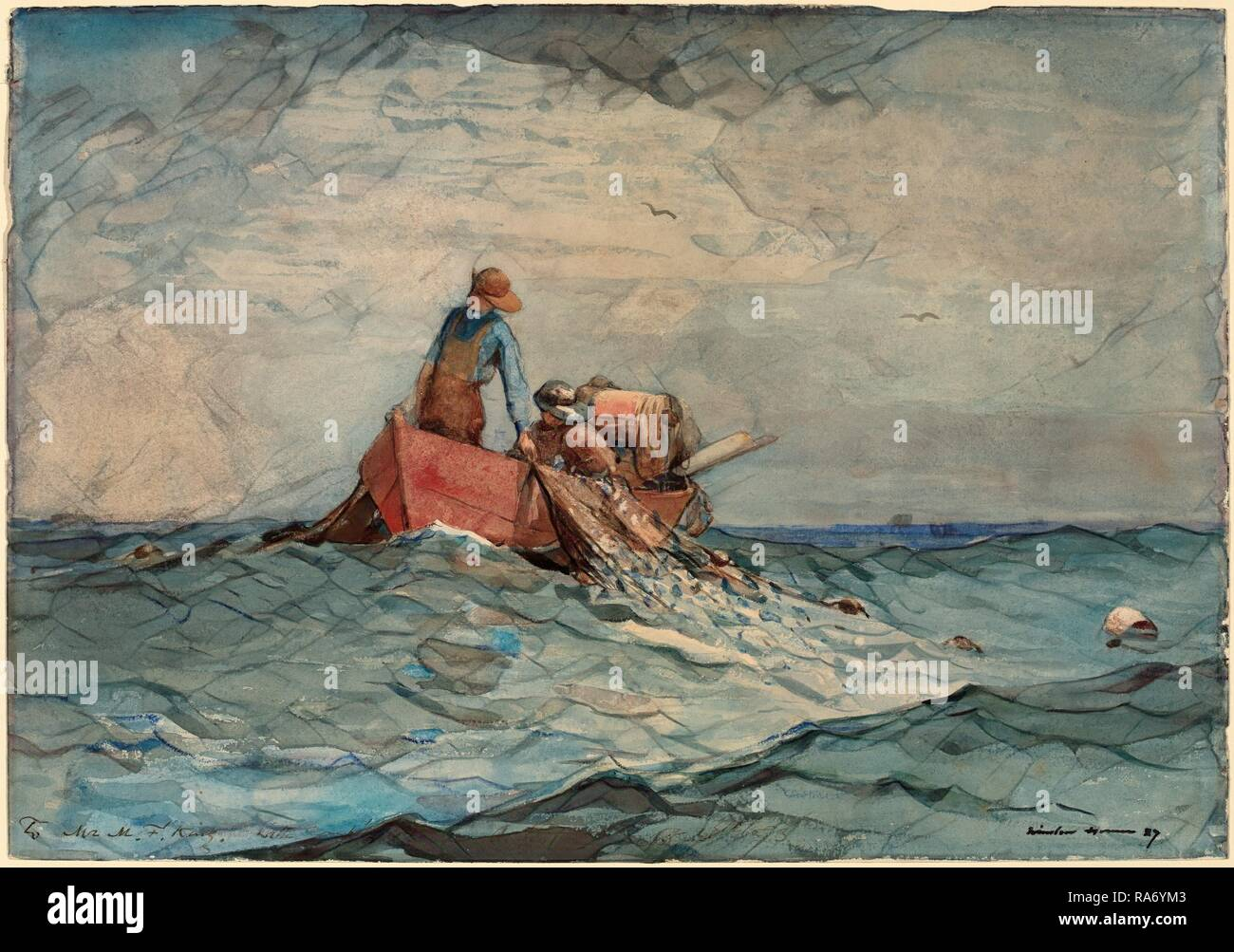 Winslow Homer, Hauling in the Nets, American, 1836 - 1910, 1887, watercolor over graphite. Reimagined - Stock Image