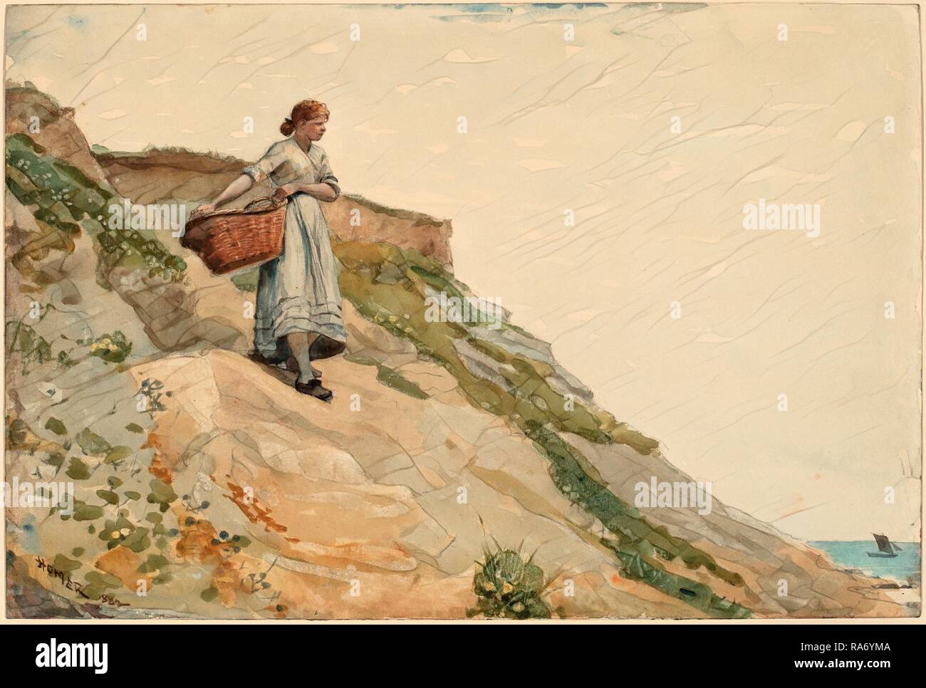Winslow Homer, Girl Carrying a Basket, American, 1836 - 1910, 1882, watercolor over graphite. Reimagined - Stock Image