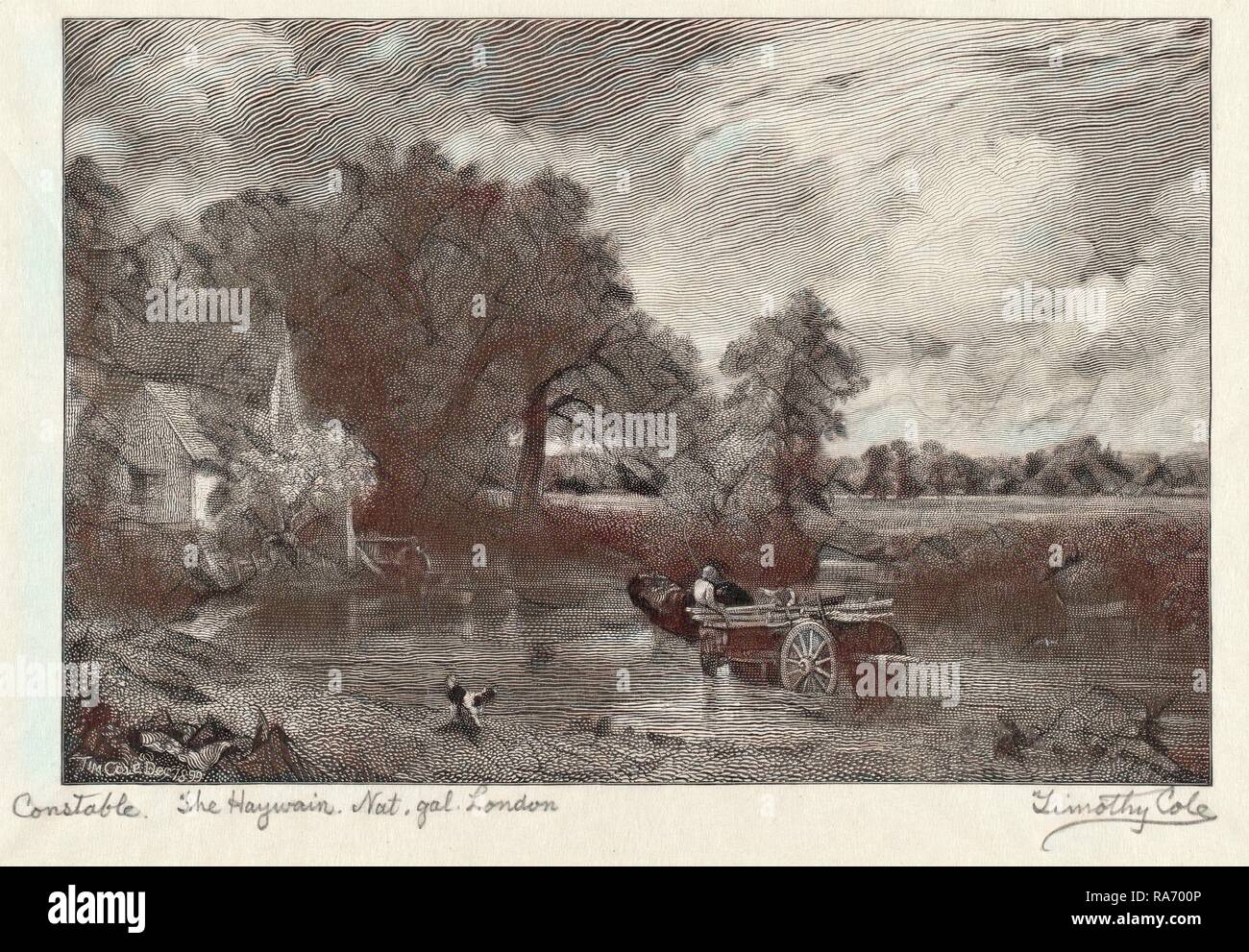 Timothy Cole after John Constable, The Haywain, American, 1852 - 1931, 1899, wood engraving. Reimagined - Stock Image