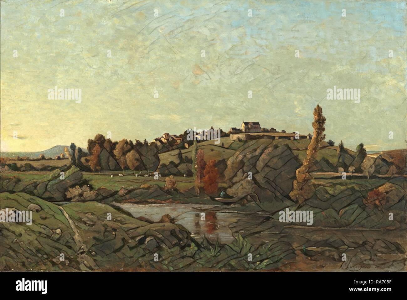 Henri-Joseph Harpignies (French, 1819 - 1916), Landscape in Auvergne, 1870, oil on canvas. Reimagined - Stock Image