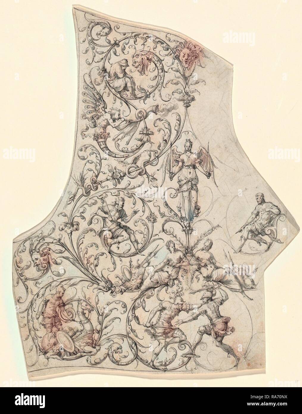 Etienne Delaune, The Backplate of a Suit of Parade Armor, French, 1518-1519-1583, c. 1557, pen and black ink with reimagined - Stock Image