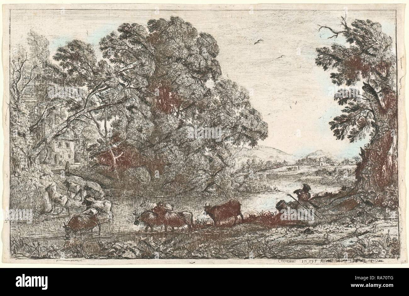 Claude Lorrain, French (1604-1605-1682), The Cowherd (Le bouvier), 1636, etching. Reimagined by Gibon. Classic art reimagined - Stock Image