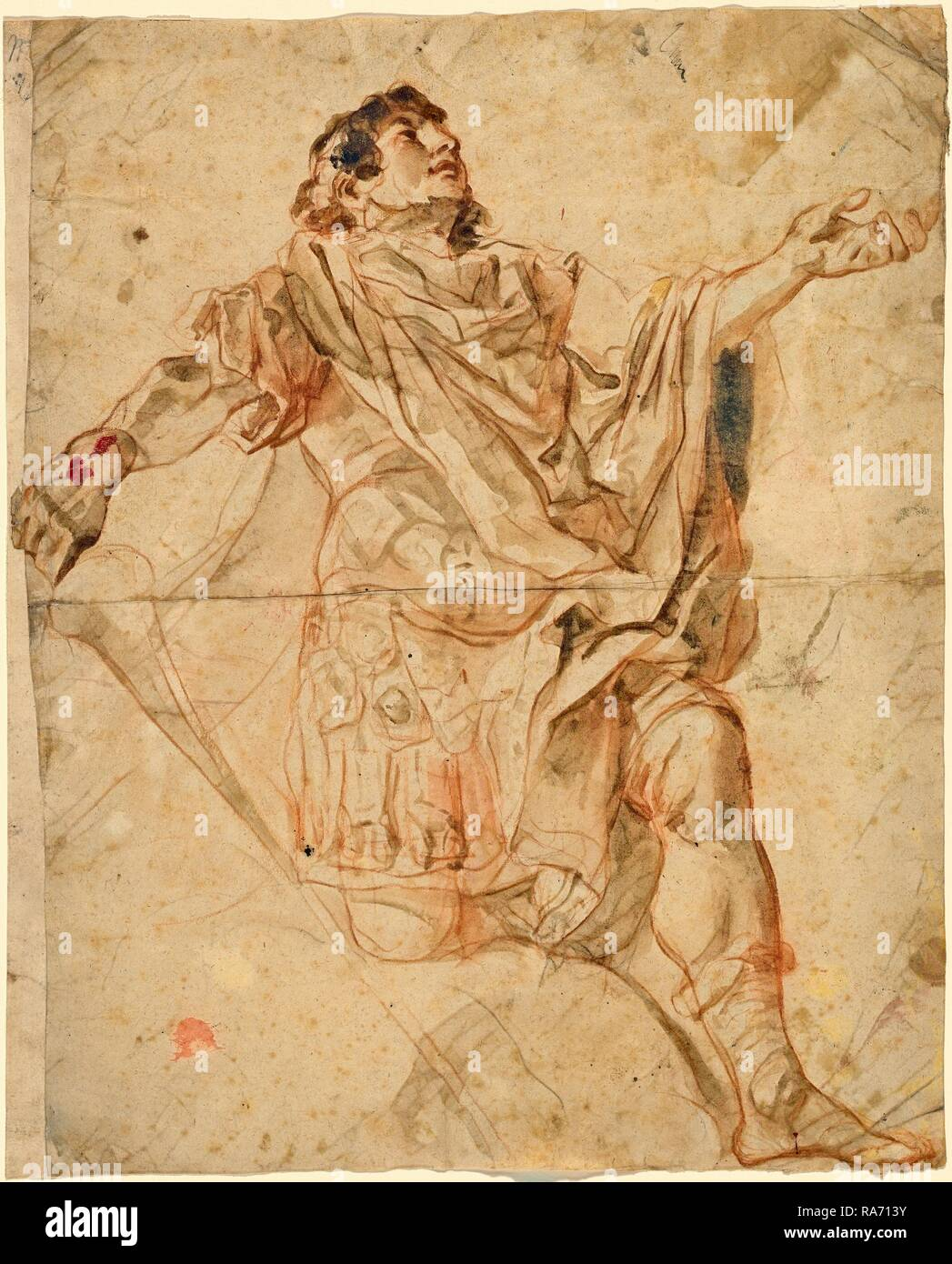 Cosmas Damian Asam, German (1686-1739), Saint George Kneeling (recto), 1720-1721, red chalk with gray-brown wash with reimagined - Stock Image