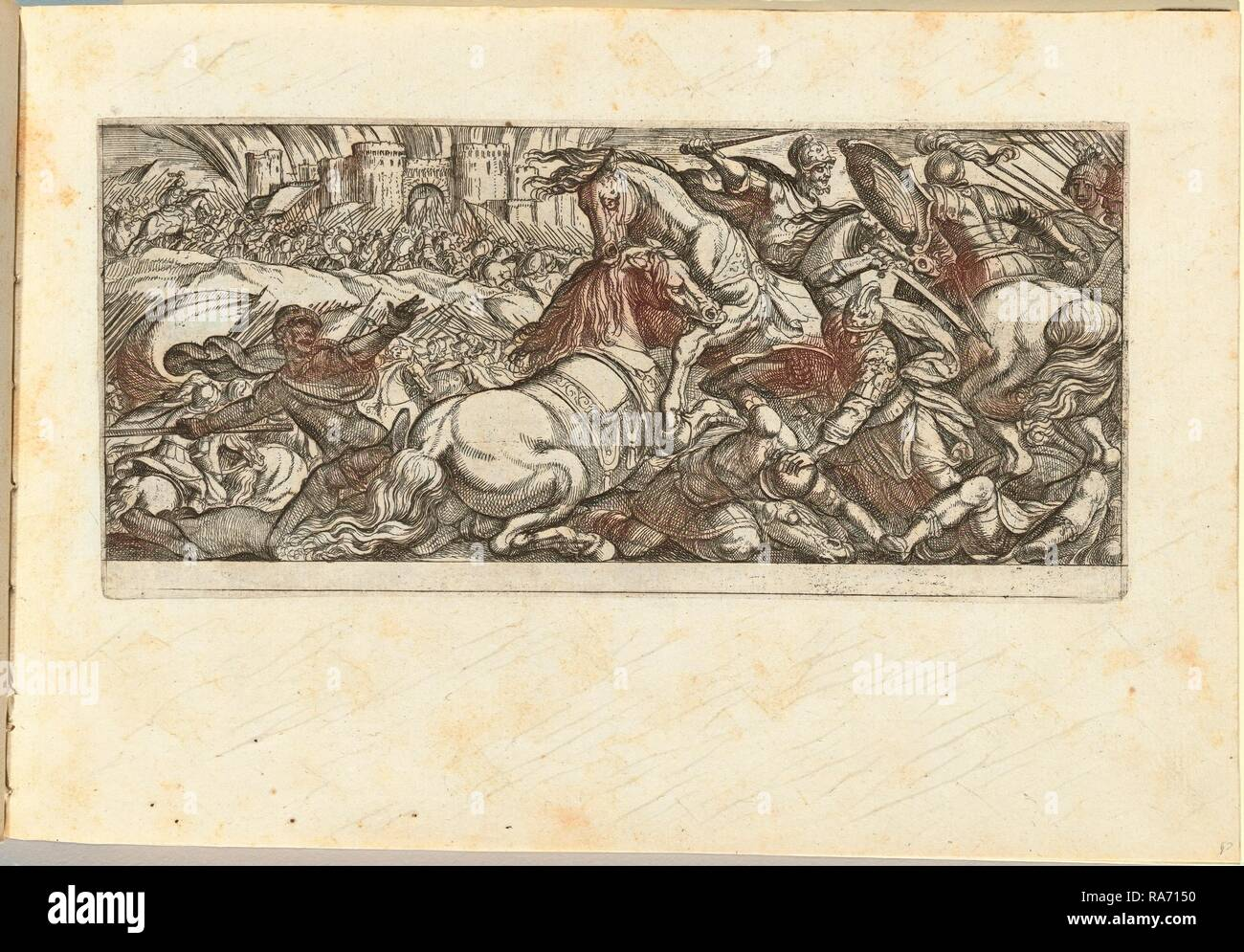 Antonio Tempesta, Italian (1555-1630), Battle Scene with Two Horses Attacking Each Other, etching. Reimagined - Stock Image