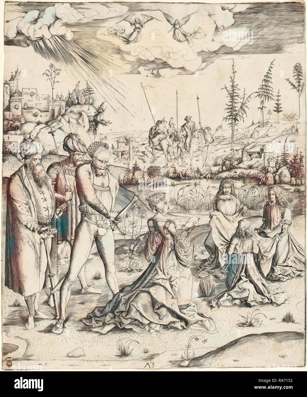 Master MZ, German (active c. 1500), The Martyrdom of Saint Catherine, engraving on laid paper. Reimagined - Stock Image