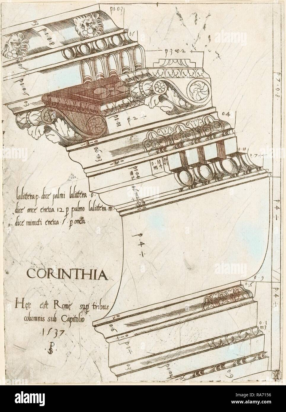 Master PS (Italian (?), active 1535-1537), Entablature from the Temple of Vespasian, Rome, 1537, engraving reimagined - Stock Image