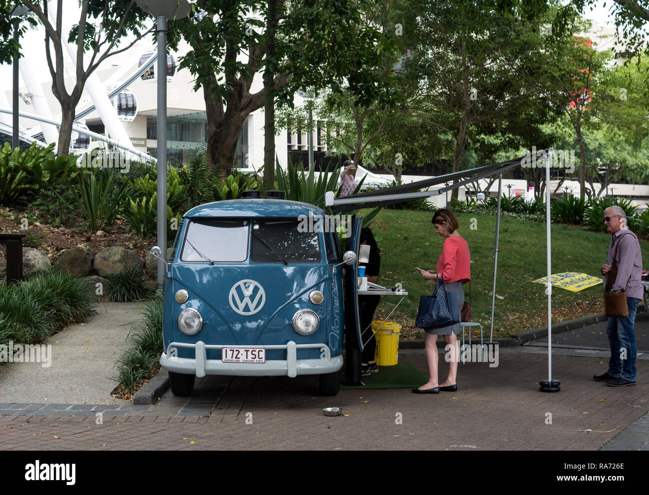 VW campervan cafe, South Bank, Brisbane, Queensland, Australia - Stock Image