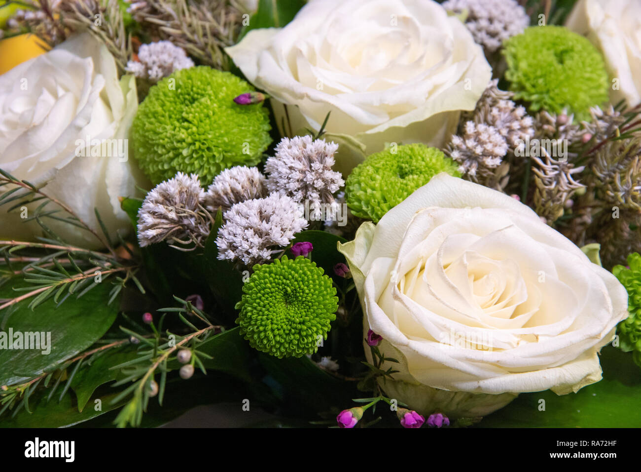 bb7733d503b Beautiful bouquet of flowers with white ranunculus buttercup, green ...