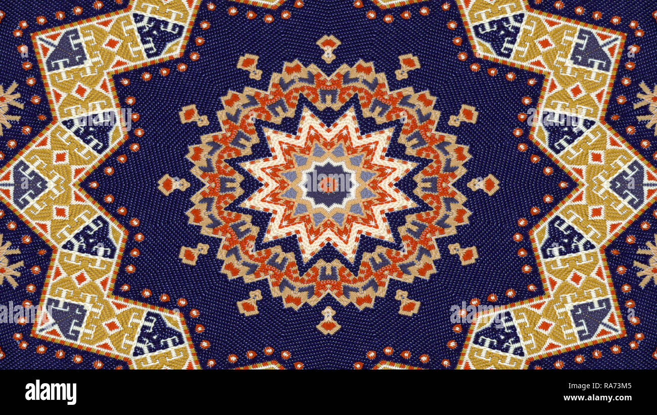 Abstract Ethnic Authentic Symmetric Pattern Ornamental Decorative Kaleidoscope Movement Geometric Circle and Star Shapes - Stock Image