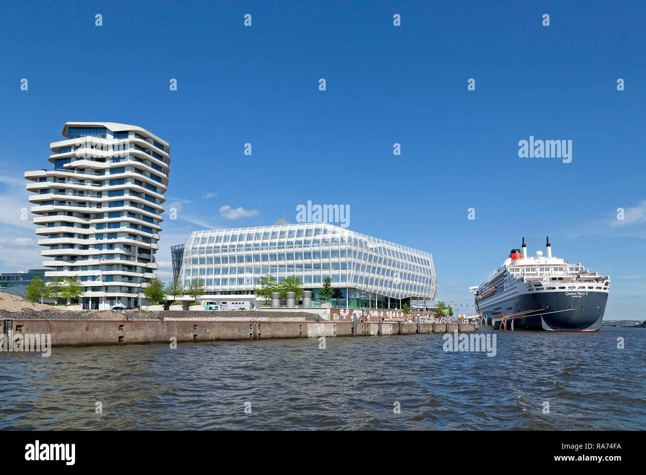 Marco Polo Tower, Unilever House, Queen Mary 2, HafenCity, Hamburg, Germany - Stock Image