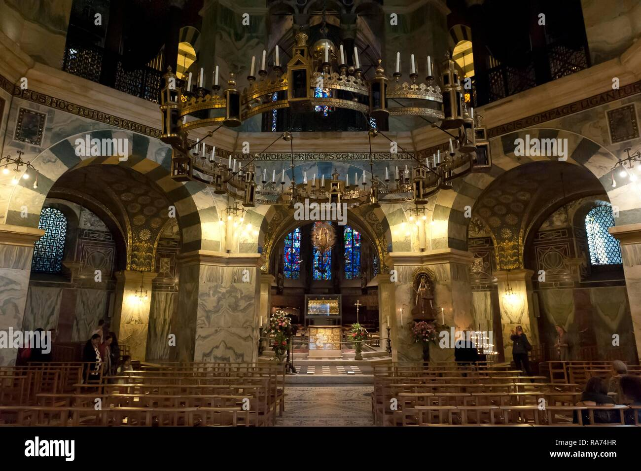 Interior with altar, central building, octagon and hexagon, Palatine chapel, Aachen cathedral, Aachen, North Rhine-Westphalia - Stock Image