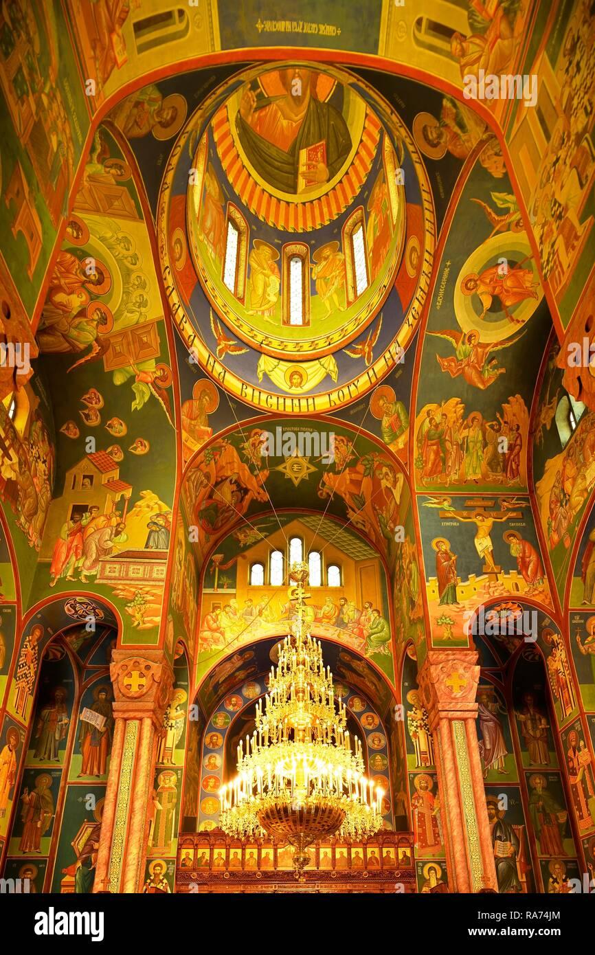 Interior view with wall paintings, Serbian orthodox church St.Kyrill and Method, Ljubljana, Slovenia - Stock Image