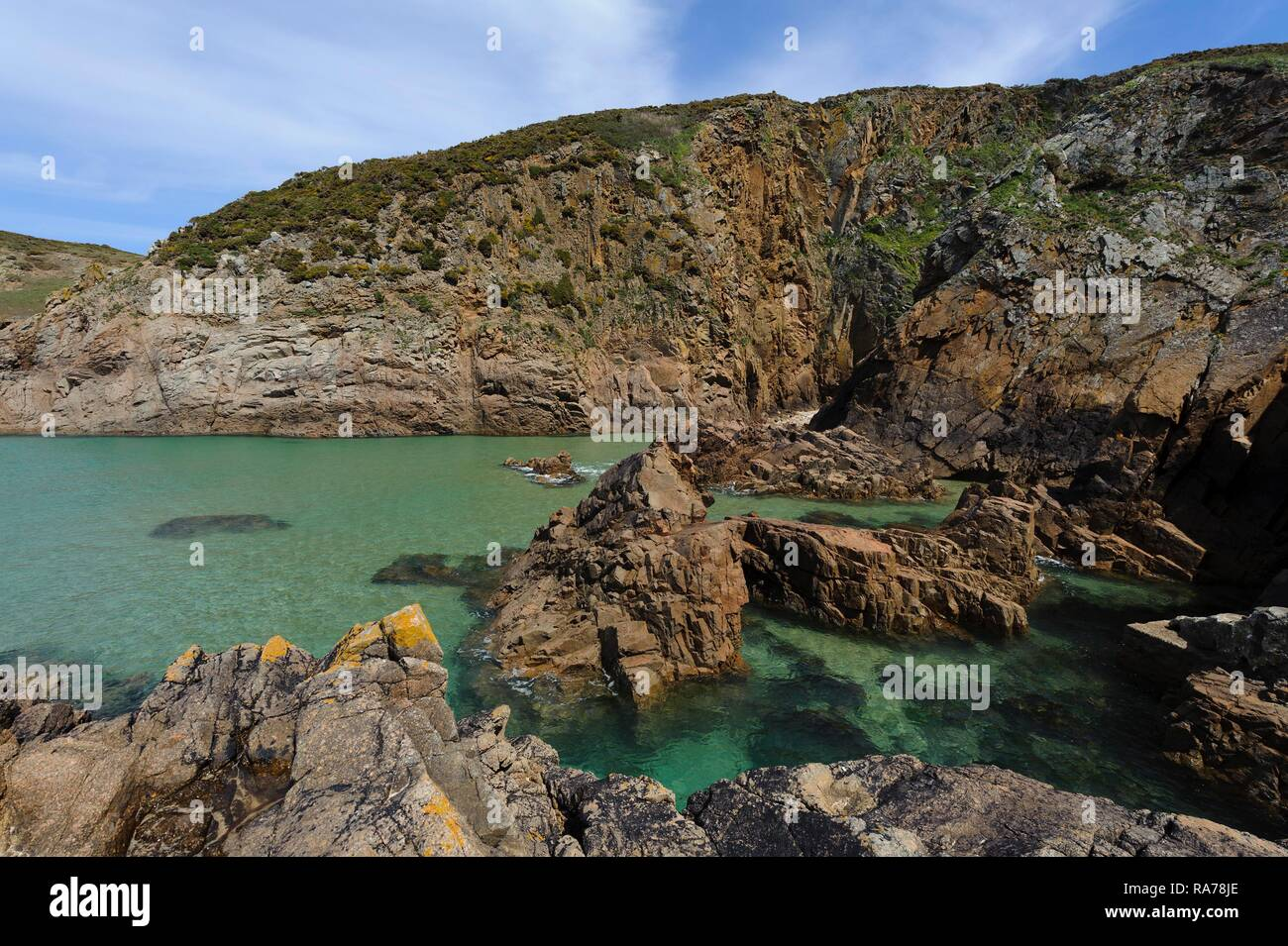 Plemont Bay in the northeast of the island of Jersey, Channel Islands - Stock Image