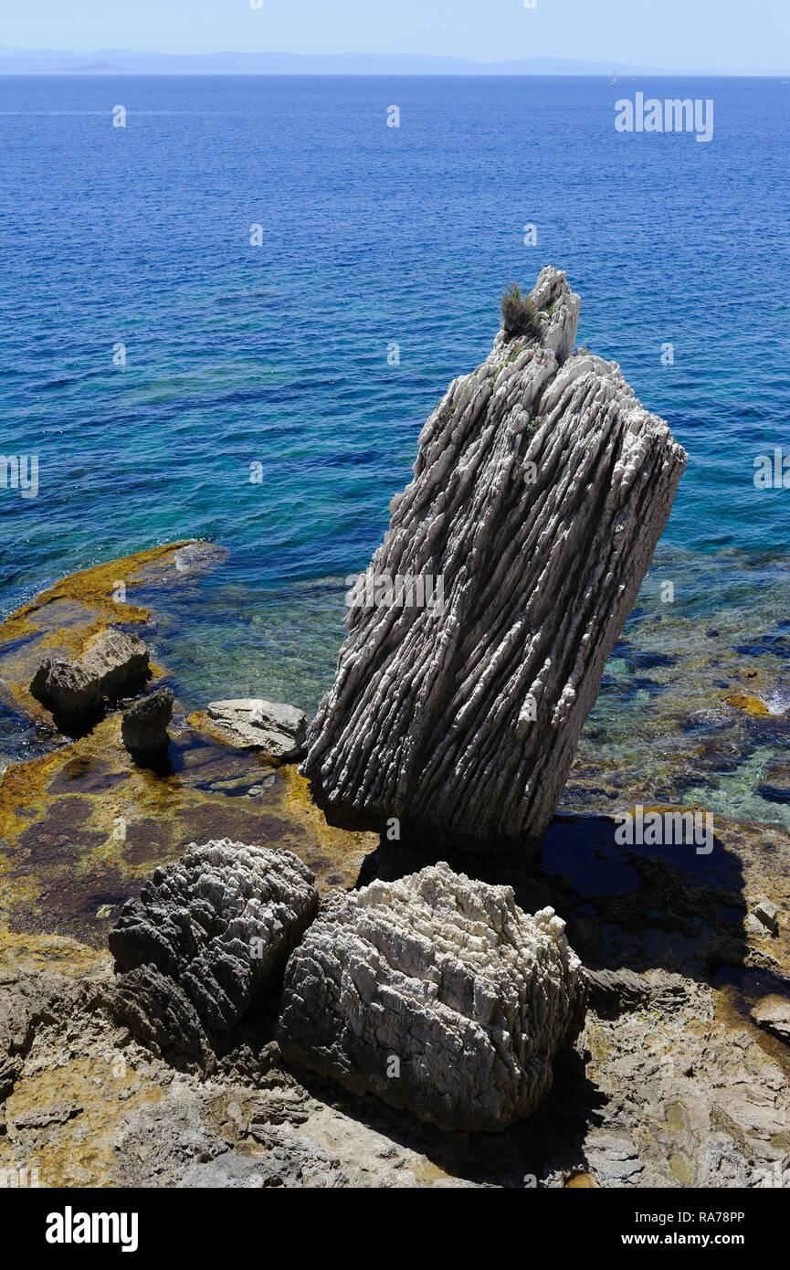 Cliffs with the Escalier du Roi d'Aragon stairs in Bonifacio, Corsica, France, Europe Stock Photo