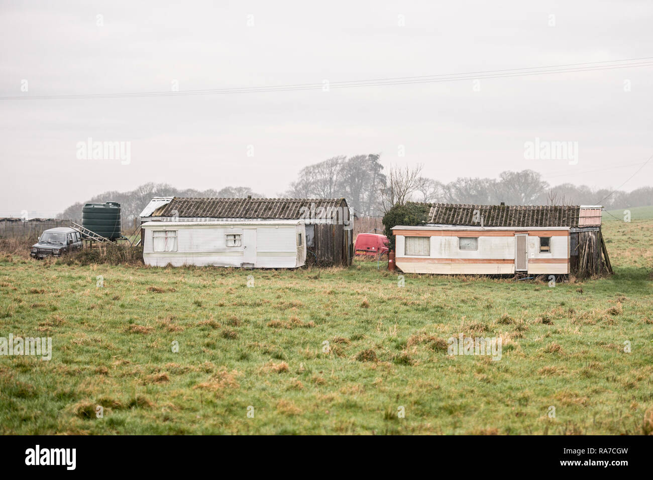 accomodation for migrant fruit farm workers - Stock Image