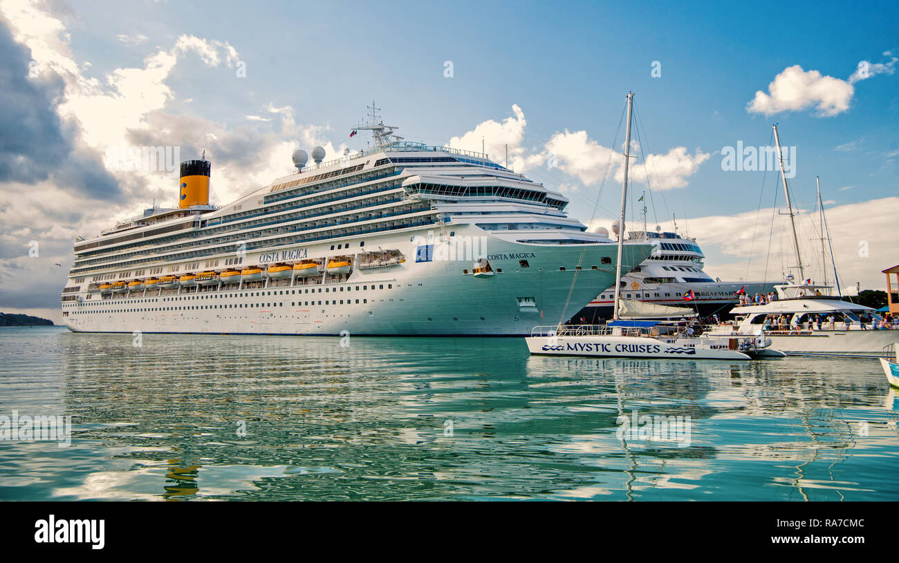 st.Johns, Antigua-March 5. 2017: Cruise Ship Costa Magica Anchored in The Caribbean sea , st.Johns, Antigua. Crise and travel concept - Stock Image