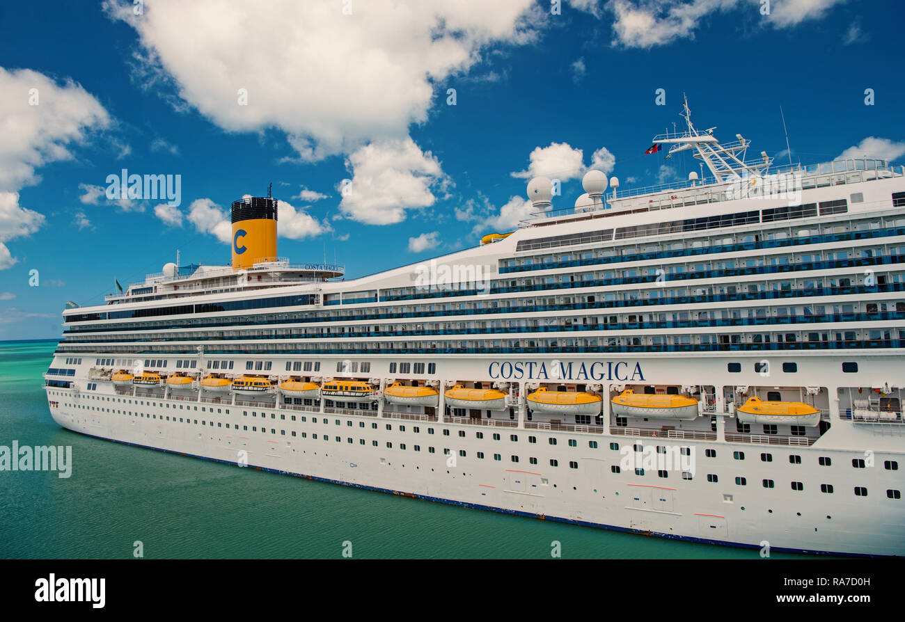 st.Johns, Antigua-March 5. 2017: Cruise Ship Costa Magica Anchored in The Caribbean sea , st.Johns, Antigua. Cruise and travel concept - Stock Image