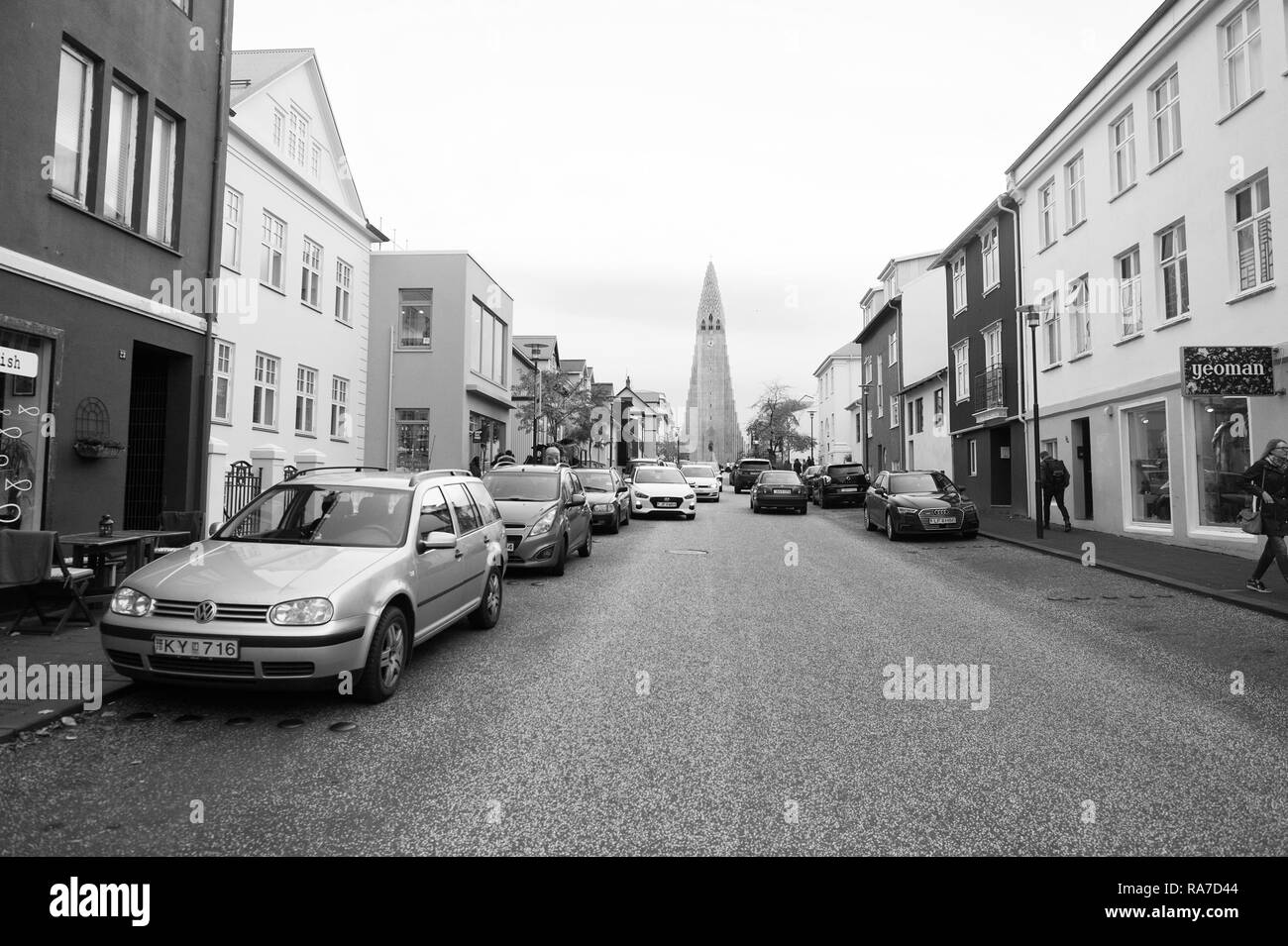 Reykjavik, Iceland - October 12, 2017: hallgrimskirkja church view on travel road. Hallgrimskirkja architecture. Lutheran church. Travel guide. Connecting people to Jesus and one another. - Stock Image
