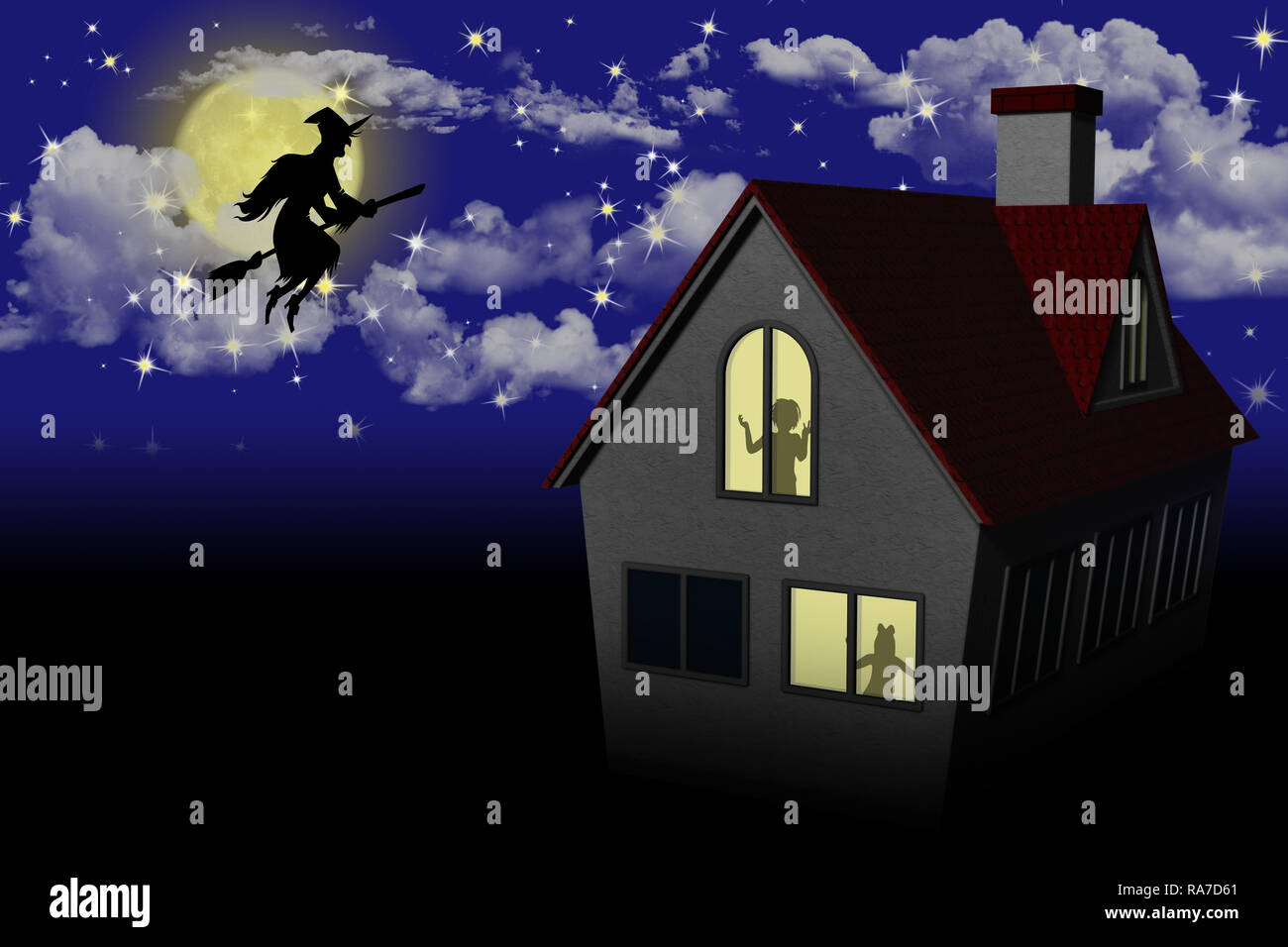 Epifania, Befana con scopa nella notte. Stock Photo