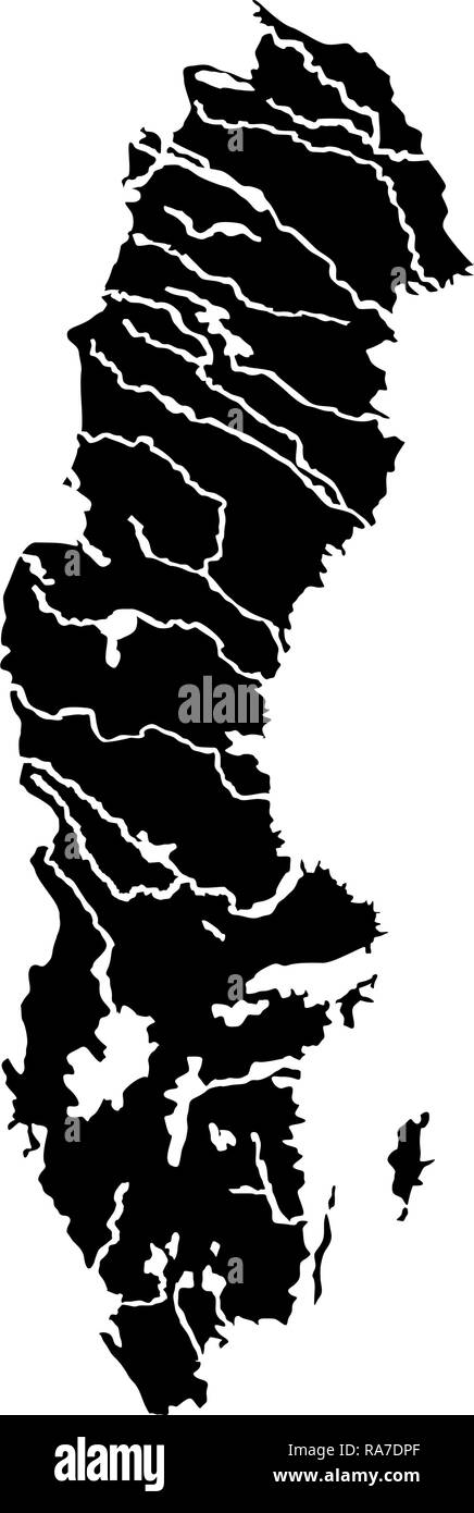 Map of Sweden icon black color vector I flat style simple image - Stock Image