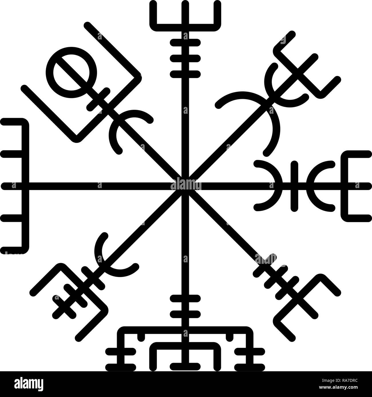 Vegvisir runic compass galdrastav Navigation compass symbol icon black color vector I flat style simple image - Stock Image