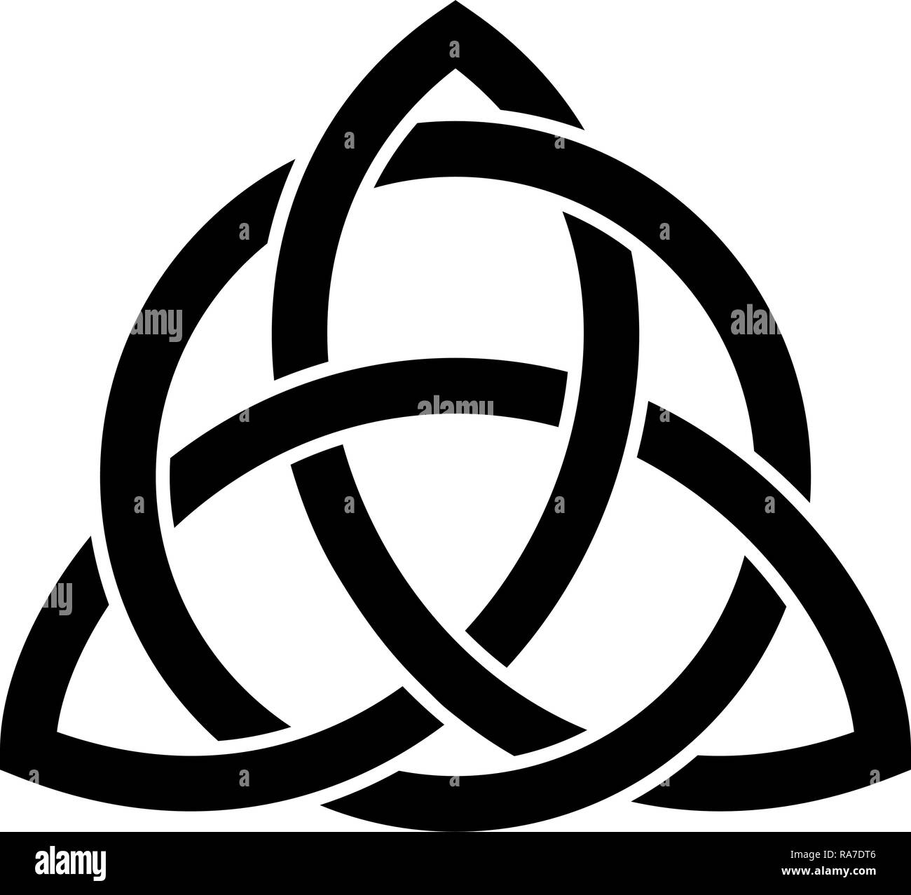 Triquetra in circle Trikvetr knot shape Trinity knot icon black color vector I flat style simple image - Stock Vector