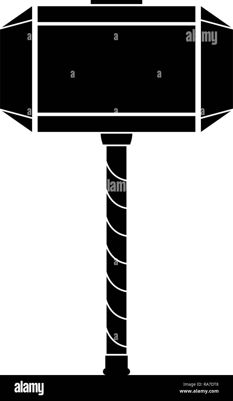Thor's hammer Mjolnir icon black color vector I flat style simple image - Stock Image