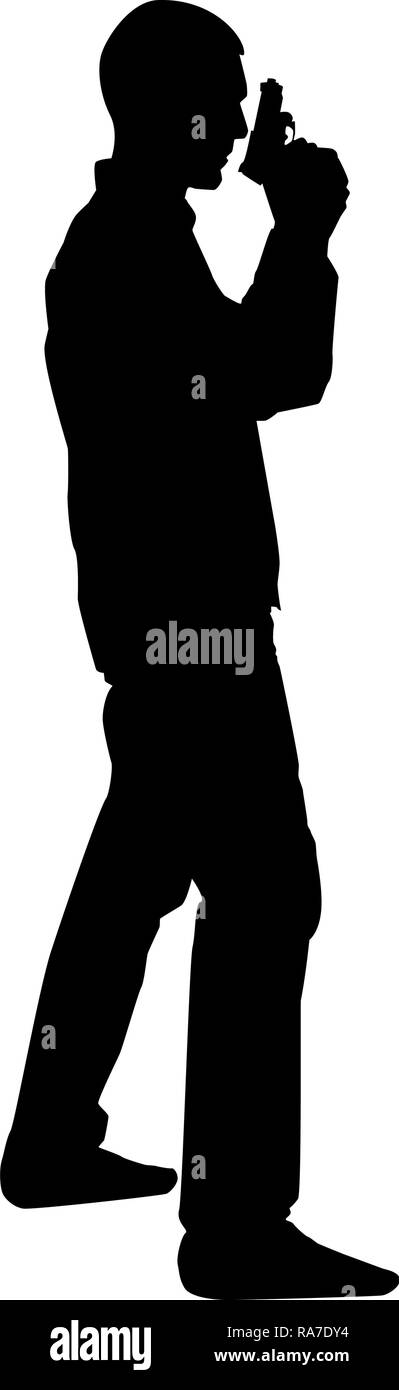 Man with gun Hazard concept icon black color vector I flat style simple image Stock Vector