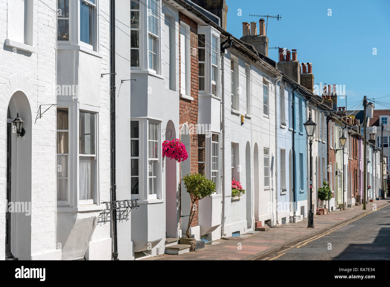 Colorful serial houses seen in Brighton, England - Stock Image