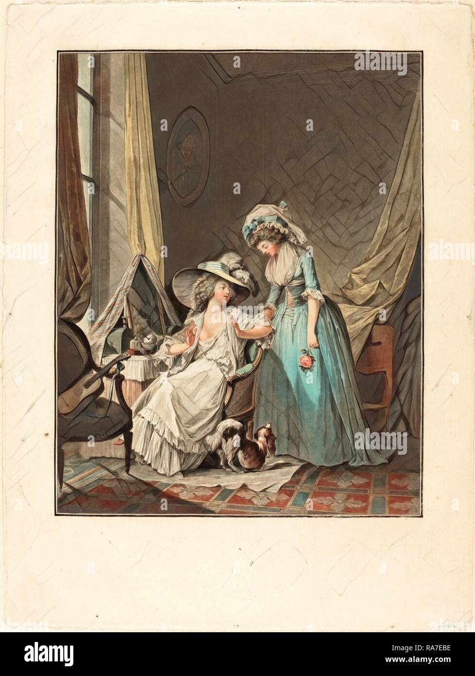 Jean-François Janinet after Nicolas Lavreince, French (1752-1814), L'aveu difficile (The Difficult Confession), 1787 reimagined Stock Photo