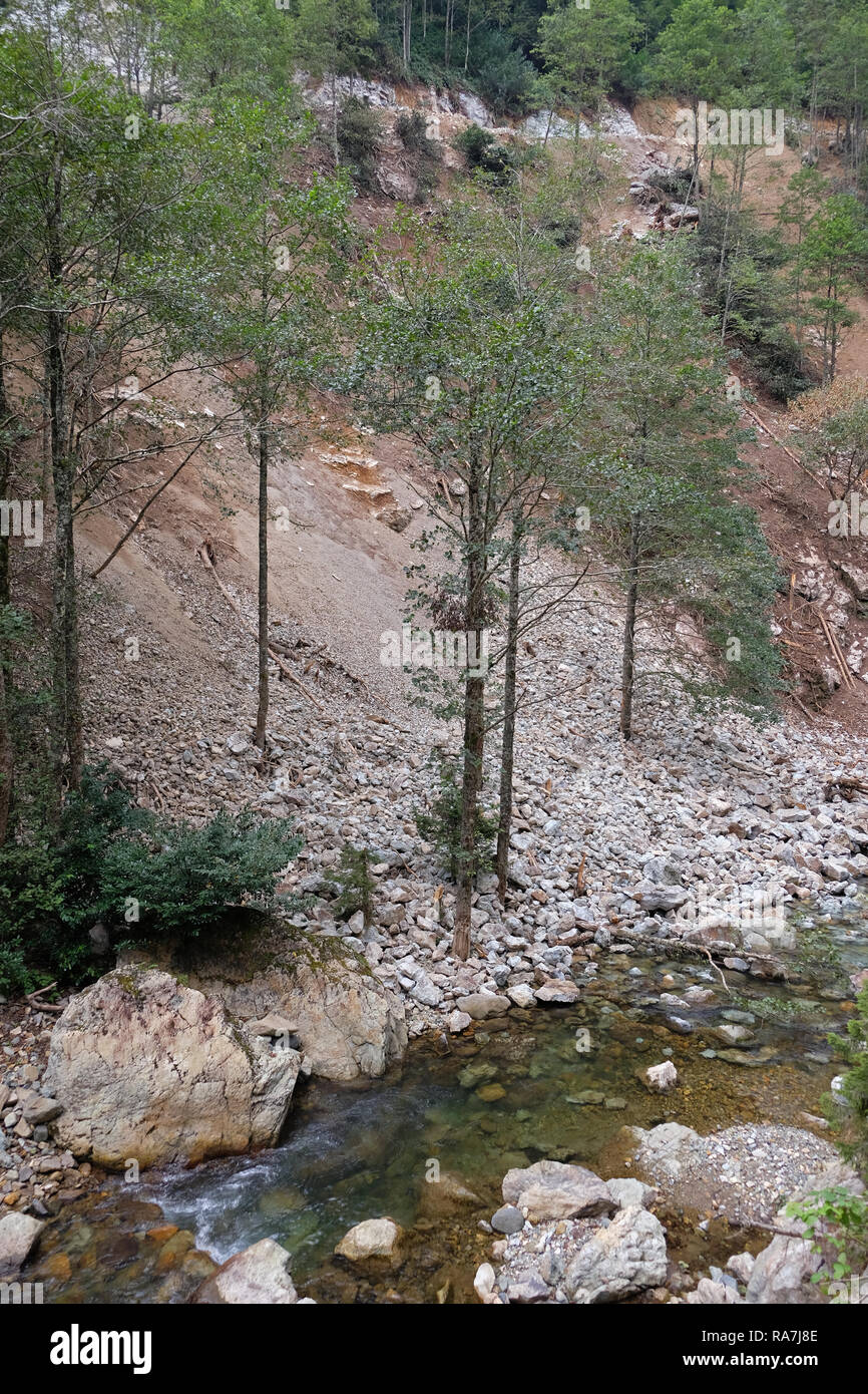 construction of roads on slopes is damaging to nature - Stock Image