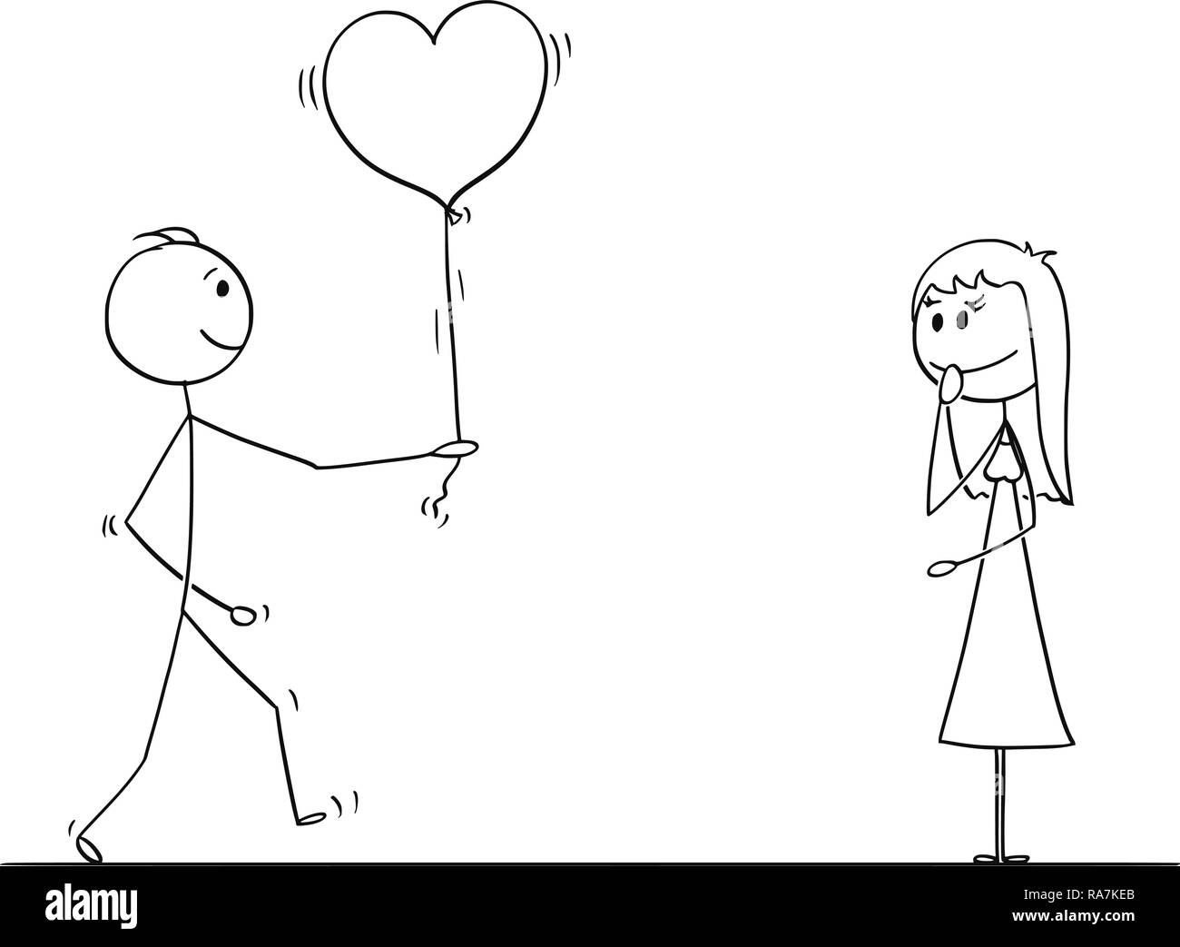 Stick Character Cartoon of Loving Man or Boy Giving Balloon Heart to